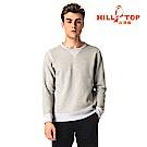 【hilltop山頂鳥】男款遠紅外線發熱保暖刷毛上衣 H51MH7原樣灰