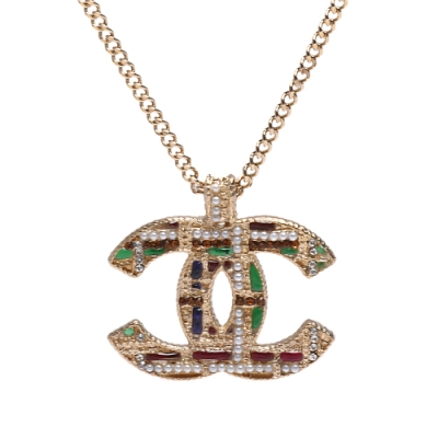 CHANEL 經典雙C LOGO水鑽琉璃珠鑲嵌編織造型項鍊(金)