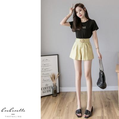 2F韓衣-素色腰帶造型壓摺修身短褲-2色(S-XL)