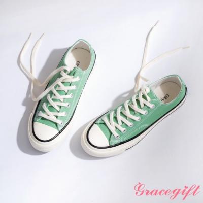 Grace gift-微厚底車線綁帶帆布鞋 綠