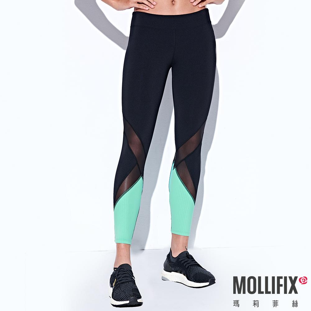 Mollifix 瑪莉菲絲 線性透膚7分動塑褲 (黑+綠)