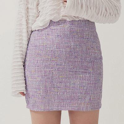 AIR SPACE PLUS 棉麻格紋亮片短裙(紫)