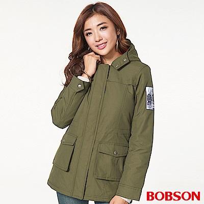 BOBSON 女款軍裝連帽鋪棉外套