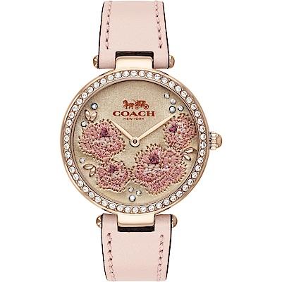 COACH Park 頂級刺繡工藝 茶花晶鑽女錶(14503285)-粉/34mm