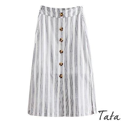 單排釦側開叉條紋裙 TATA