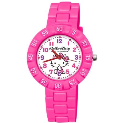 Sanrio三麗鷗 數字轉圈系列手錶 Hello Kitty坐姿凱蒂貓34mm桃紅色