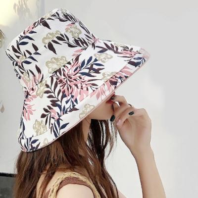 【KISSDIAMOND】大帽檐雙面戴可摺疊收納印花遮陽帽(遮陽/防曬/全防護/好收納/6色可選)