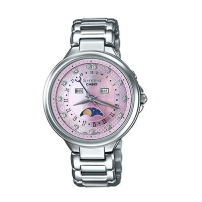 CASIO卡西歐 完美氣質日月相施華洛世奇女腕錶(SHE-3044D-4A)-粉x35mm