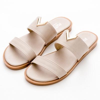 River&Moon拖鞋 台灣製金屬小V雙寬帶平底涼拖 米灰