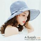 A-Surpriz 氣質條紋蝴蝶結遮陽布帽(藍白)