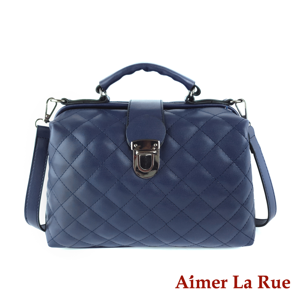Aimer La Rue 安德莉亞菱格紋手提側背斜背大開口醫生包(三色)