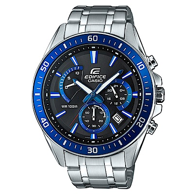 EDIFICE 極速時尚魅力俐落帥氣指針腕錶(EFR-552D-1A2)藍框/47mm