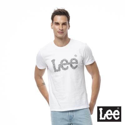 Lee 短T 黑色logo文字圖形 圓領 男 白