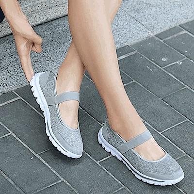 韓國KW美鞋館 飛織布面娃娃款減震軟底鞋-灰色