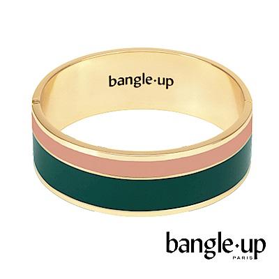 BANGLE UP 簡約條紋琺瑯鍍金寬手環 -粉綠