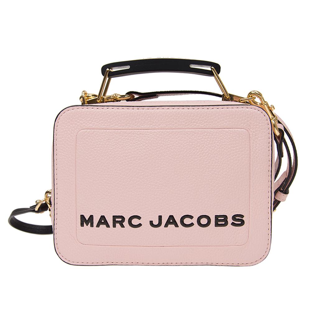 MARC JACOBS THE BOX 20 雙拉鍊牛皮手提/肩背兩用包(小款/櫻花粉) 享真品保險保障 歡迎使用折價券