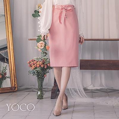 東京著衣-yoco 迷人曲線後拉鍊緞帶交叉綁帶窄裙-S.M.L(共一色)