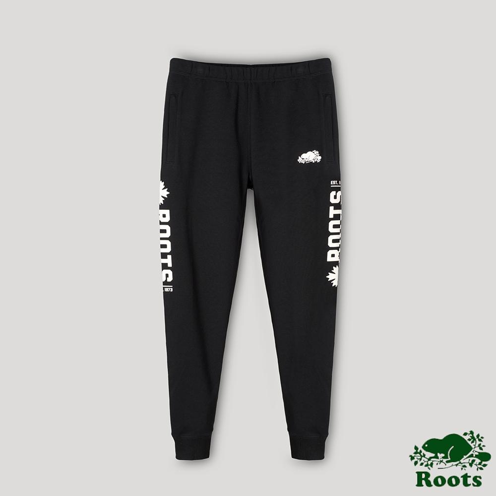 Roots男裝- 椒鹽灰系列 雙面布休閒長褲-黑色