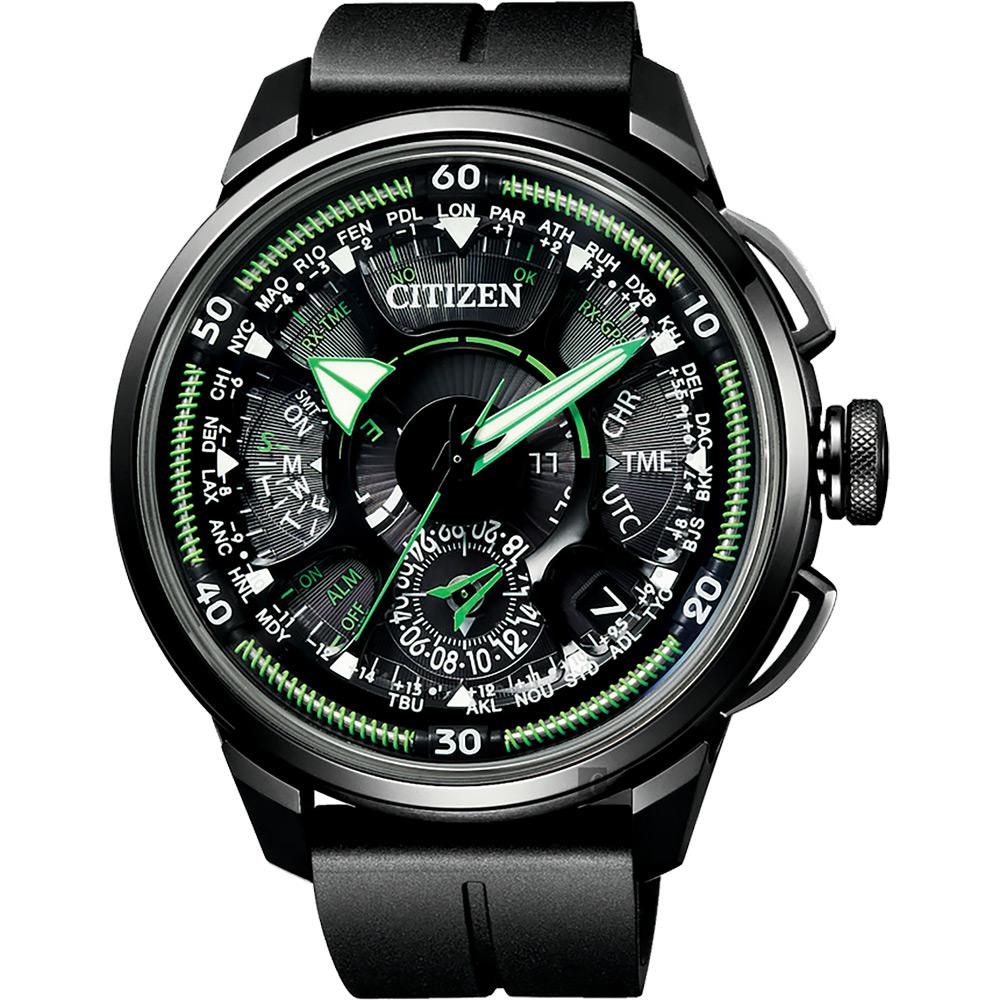 CITIZEN 星辰 光動能鈦GPS衛星對時錶-綠指針/48.5mm CC7005-16E @ Y!購物
