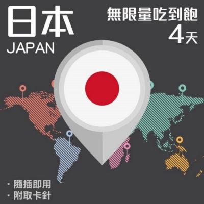 【PEKO】日本上網卡 4日高速4G上網 無限量吃到飽 優良品質高評價