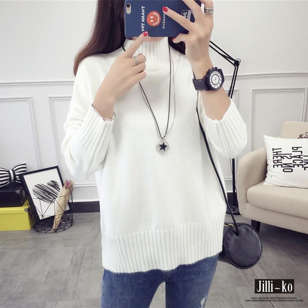 JILLI-KO 中高領螺紋純色針織衫- 白色