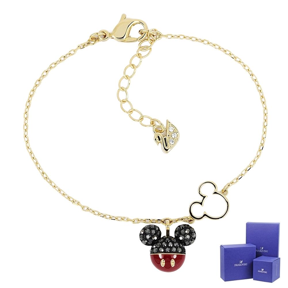SWAROVSKI 施華洛世奇 MICKEY璀燦水晶米奇造型金色手鍊手環