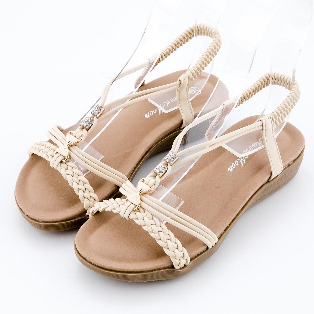 River&Moon大尺碼女鞋 典雅編織蝴蝶鑽扣一字楔型涼鞋 米