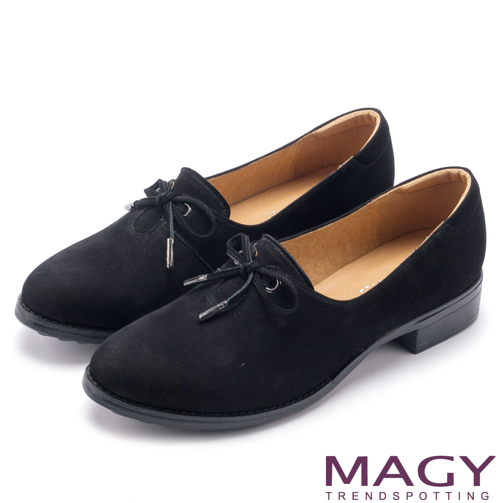 MAGY 微甜學院 細帶蝴蝶結牛皮低跟鞋-黑色