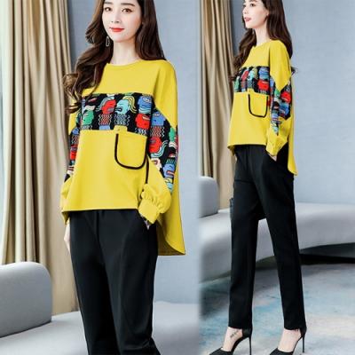 【韓國K.W】(預購)耀眼個性時尚蝙蝠袖拼色套裝(共1色)