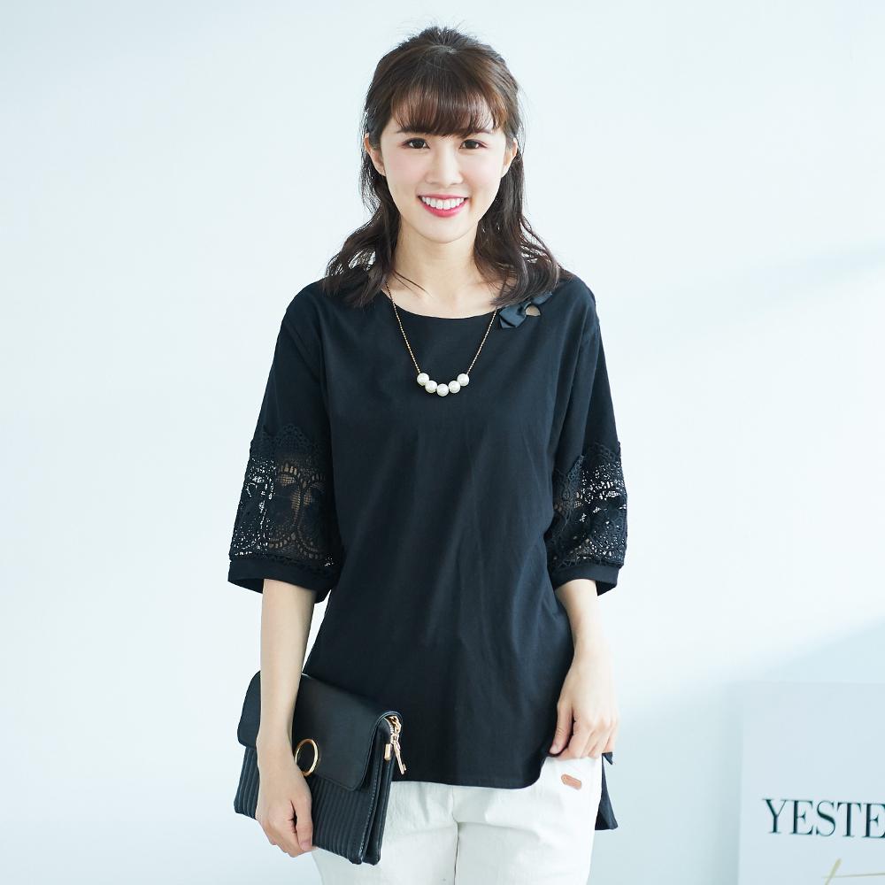 KatieQ 鏤空袖造型寬上衣-F-黑
