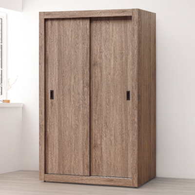 AS-鋼刷灰橡木色4尺拉門衣櫥-122x60x197cm(四色可選)