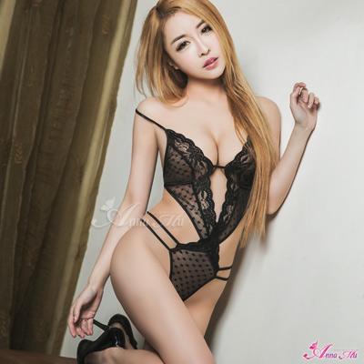 Anna Mu情趣內衣黑色網紗曲線連身衣-黑