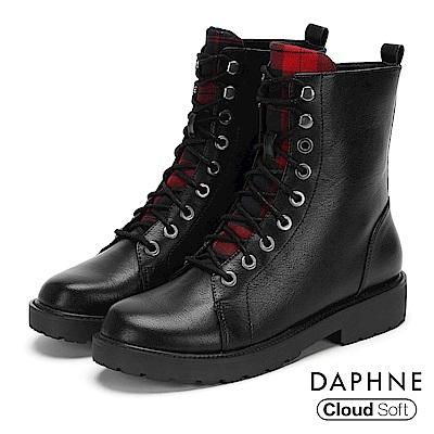 達芙妮DAPHNE 短靴-圓頭個性綁帶拼接格紋低跟短靴-黑
