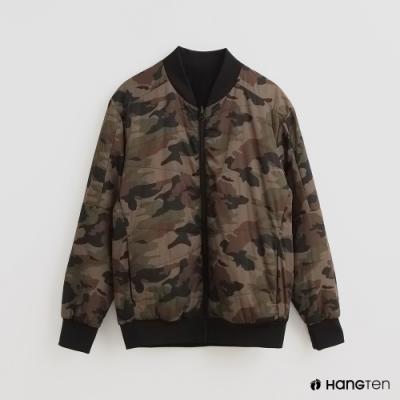 Hang Ten - 男裝 - 迷彩特色拉鍊保暖飛行外套 - 黑
