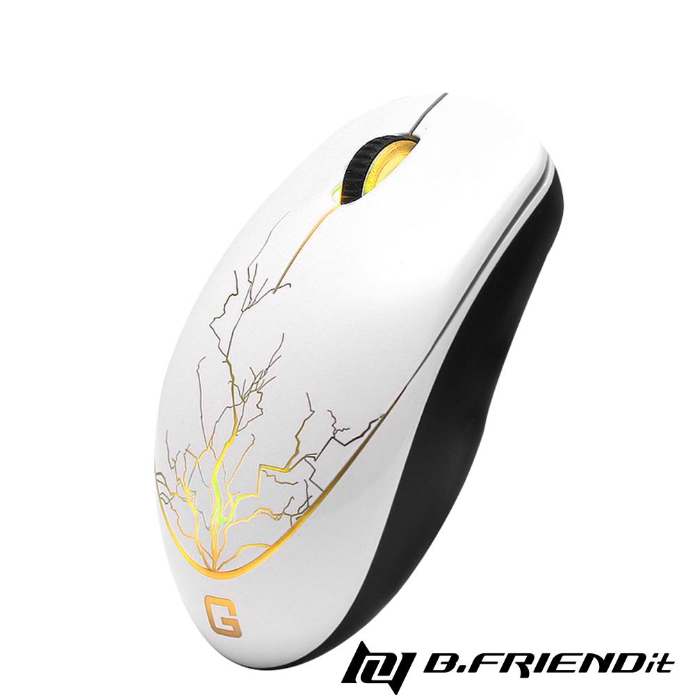 B.Friend IGM1 G-Mouse 遊戲發光有線滑鼠 (閃電設計款)-白