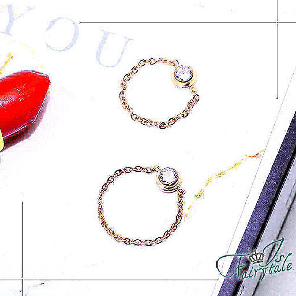 iSFairytale伊飾童話 精緻鋯石 鈦鋼玫瑰金細鍊戒環 多尺寸可選