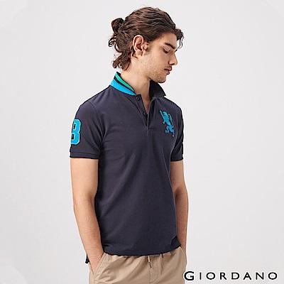 GIORDANO 男裝勝利獅王漸層刺繡彈力萊卡POLO衫-32 標誌海軍藍