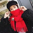 梨花HaNA 冬日極暖手感黃金絨SKY純色系列圍巾-紅色
