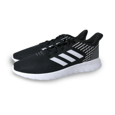 adidas 慢跑鞋 緩震 透氣 運動 休閒 男鞋 黑 白 EG3182 Asweerun