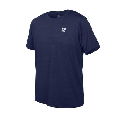 FIRESTAR 男彈性機能短袖圓領T恤-慢跑 路跑 涼感 運動 上衣 D1733-93 丈青銀