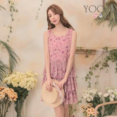 東京著衣-YOCO 甜美飄逸滿版花朵無袖蛋糕洋裝-S.M.L(共兩色)