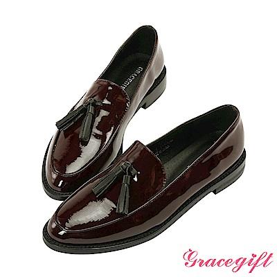 Grace gift-異材質流蘇漆皮樂福鞋 酒紅