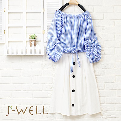 J-WELL 水藍格紋一字領排扣裙二件組