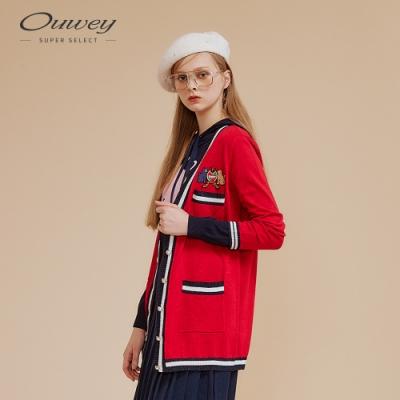 OUWEY歐薇 學院風金蔥緹織貓咪長版針織外套(紅)