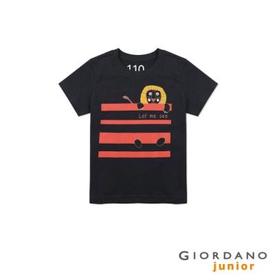 GIORDANO 童裝純棉動物印花短袖T恤-23 標誌海軍藍