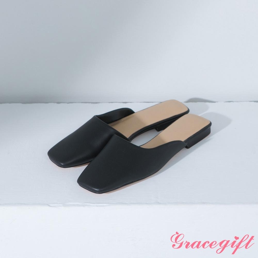 Grace gift-方頭斜口低跟穆勒鞋 黑