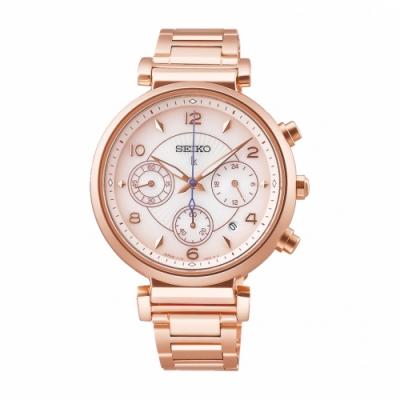 SEIKO LUKIA優雅玫瑰金太陽能腕錶V175-0EZ0K(SSC808J1)