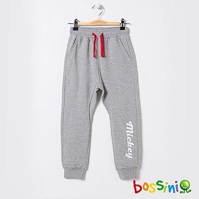 bossini男童-米奇系列厚棉針織長褲淺灰