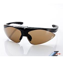 【Z-POLS】MIT頂級可掀設計霧黑搭配帥氣茶PC防爆片頂級運動眼鏡