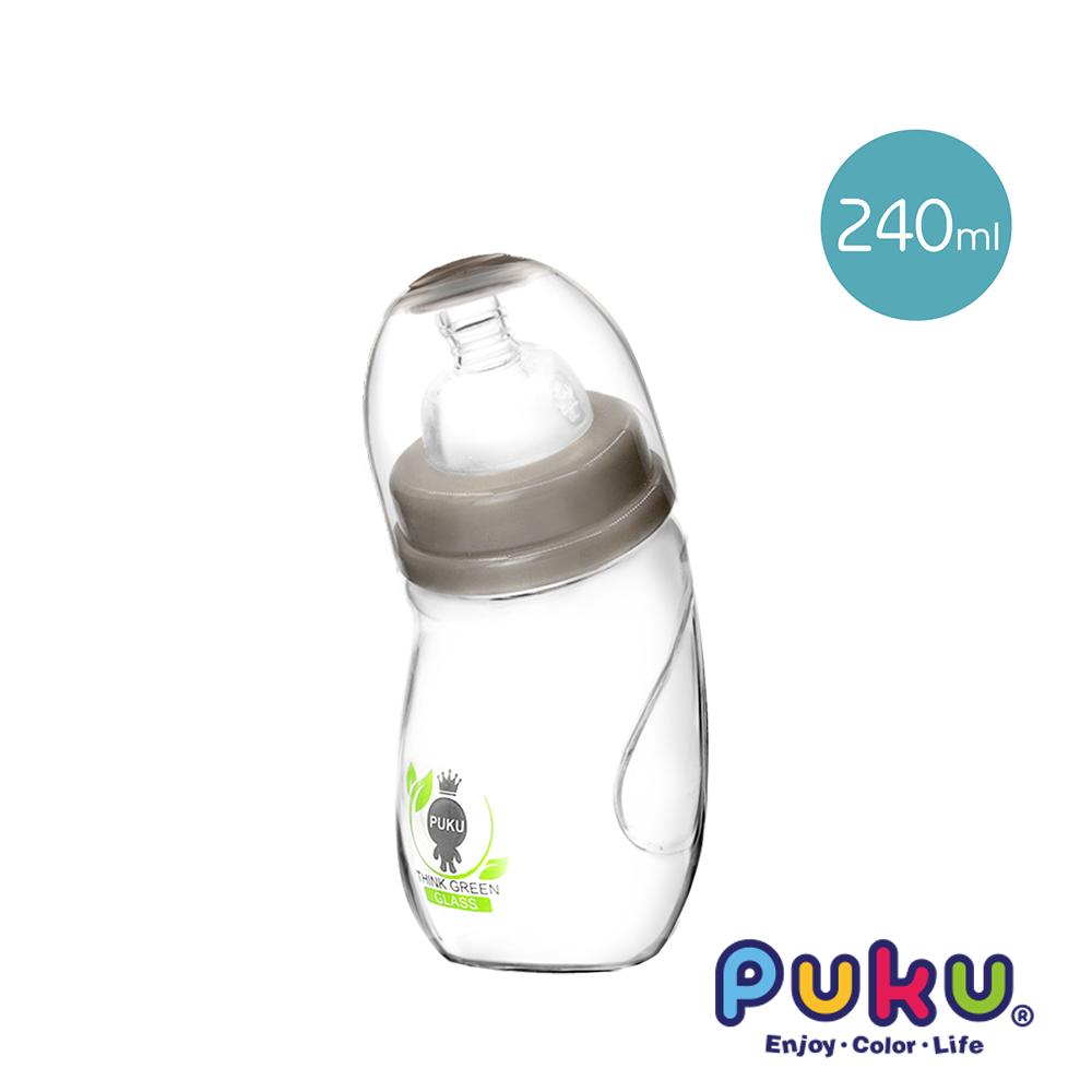 【PUKU】自然晶透寬口微笑玻璃奶瓶240ml